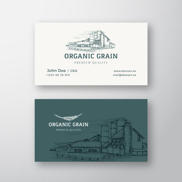 Logo Vintage Abstrait De Paysage De Ferme De Grain Biologique Vecteur gratuit