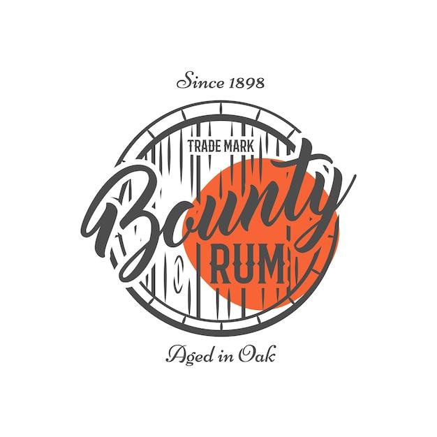 Logo vintage avec baril de rhum et texte Vecteur Premium