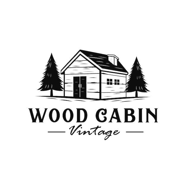 Logo vintage de cabine en bois avec style dessiné à la main Vecteur Premium