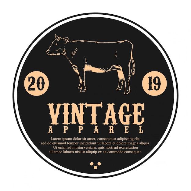 Logo vintage caw et vecteur de texte Vecteur Premium
