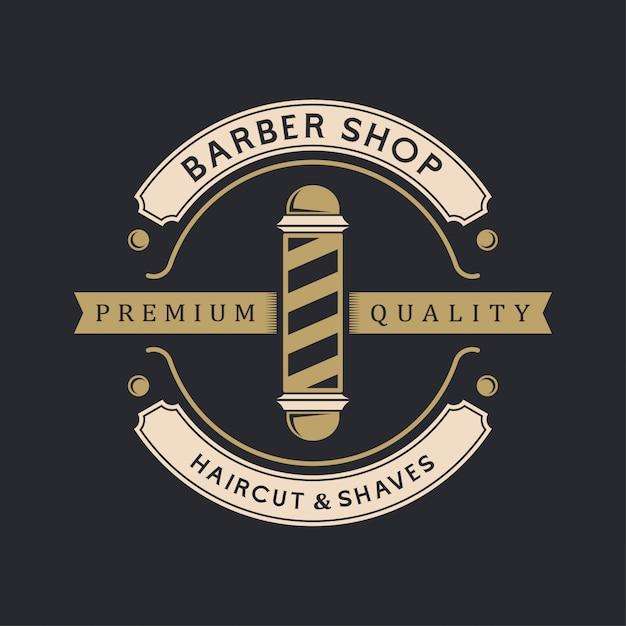 Logo vintage de coiffeur Vecteur Premium
