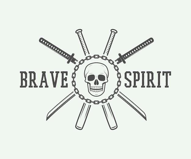 Logo Vintage De Combat Ou D'arts Martiaux Vecteur Premium