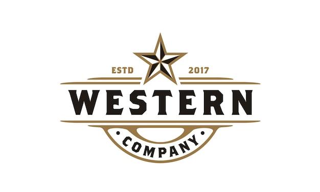 Logo vintage country emblem typography pour bière / restaurant Vecteur Premium