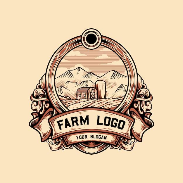 Logo vintage farm Vecteur Premium