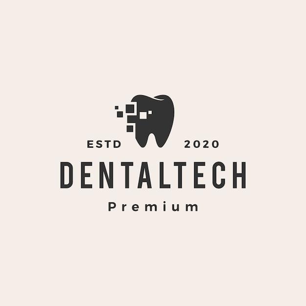 Logo Vintage De Hipster De Technologie Dentaire Vecteur Premium