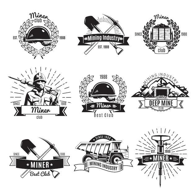 Logo Vintage De L'industrie Minière Vecteur gratuit