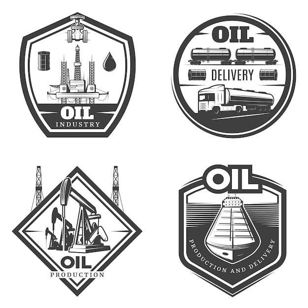 Logo Vintage De L'industrie Pétrolière Vecteur gratuit