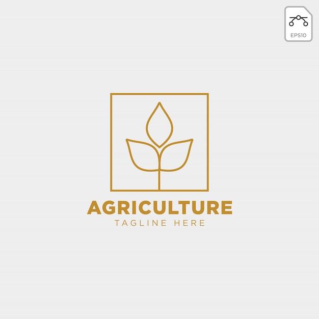 Logo vintage insigne de ligne agriculture or Vecteur Premium