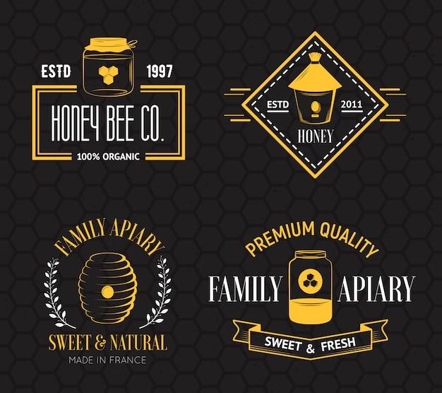 Logo vintage miel et apiculture Vecteur Premium