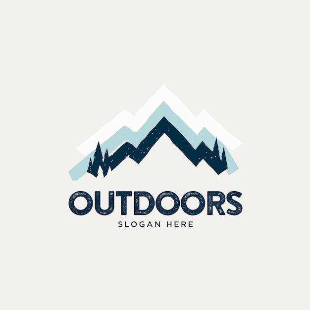 Logo vintage de montagne enneigée simple Vecteur Premium