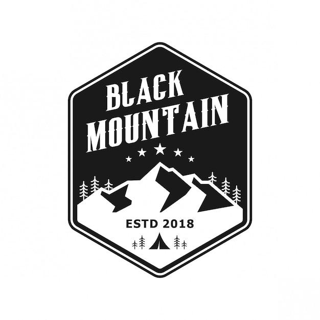 Logo vintage de montagne noire Vecteur Premium