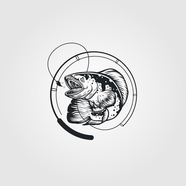 Logo Vintage De Poisson Et De Canne à Pêche Vecteur Premium