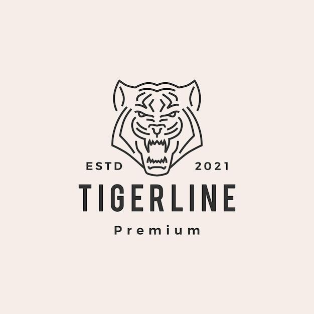 Logo Vintage De Tigre Monoline Hipster Vecteur Premium