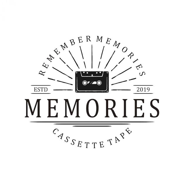 Logo vintage de vieux cassettes. studio d'enregistrement sonore Vecteur Premium