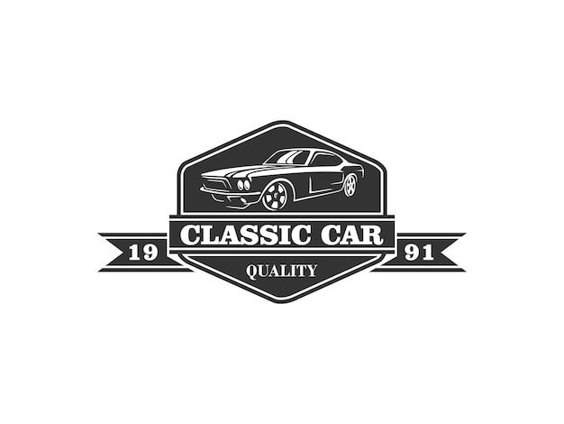Logo de voiture classique Vecteur Premium
