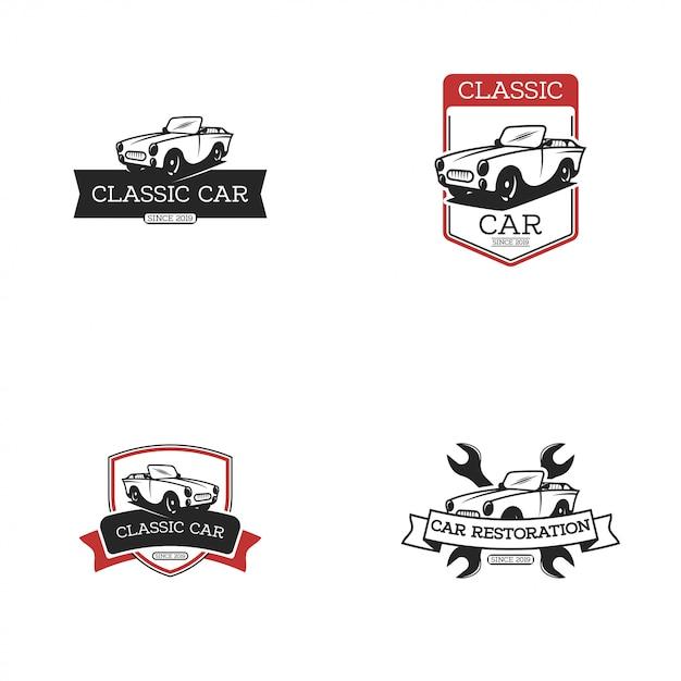 Logo de voiture vintage Vecteur Premium