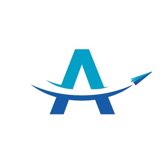 Logo de voyage en avion en papier Vecteur Premium