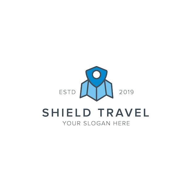Logo de voyage bouclier Vecteur Premium