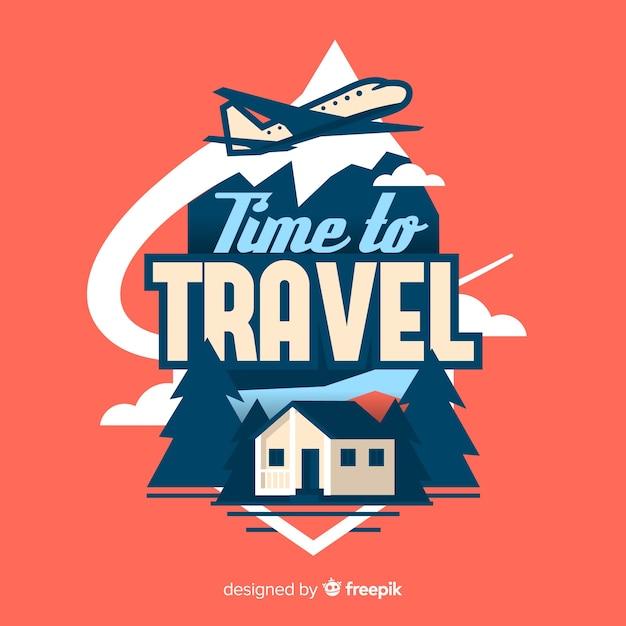Logo de voyage plat vintage Vecteur gratuit