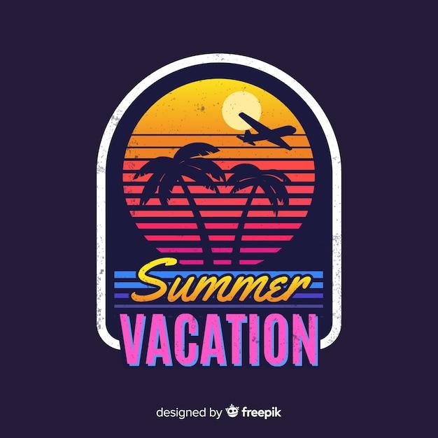 Logo De Voyage Plat Vintage Vecteur Premium
