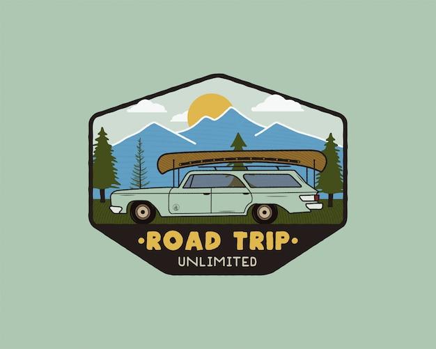 Logo de voyage vintage sur la route Vecteur Premium