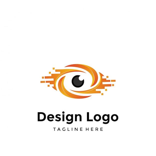 Logo des yeux Vecteur Premium