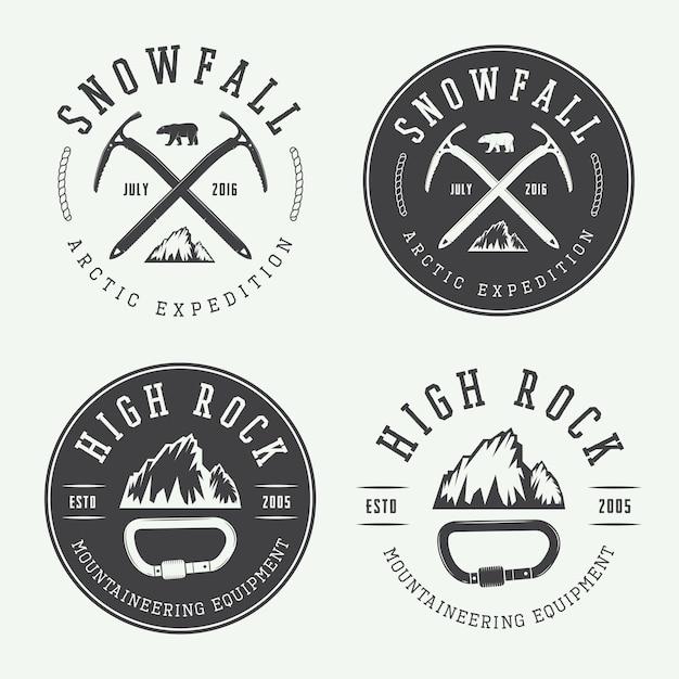 Logos d'alpinisme Vecteur Premium