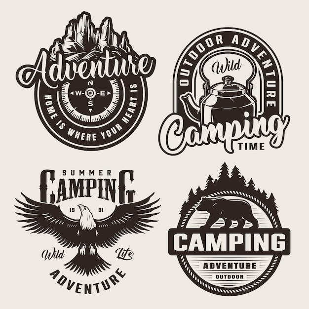 Logos D'aventure De Camping Monochromes Vecteur gratuit