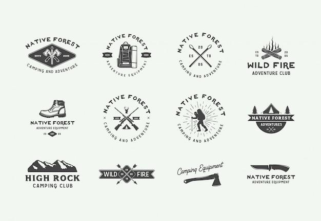 Logos d'aventure de camping en plein air Vecteur Premium