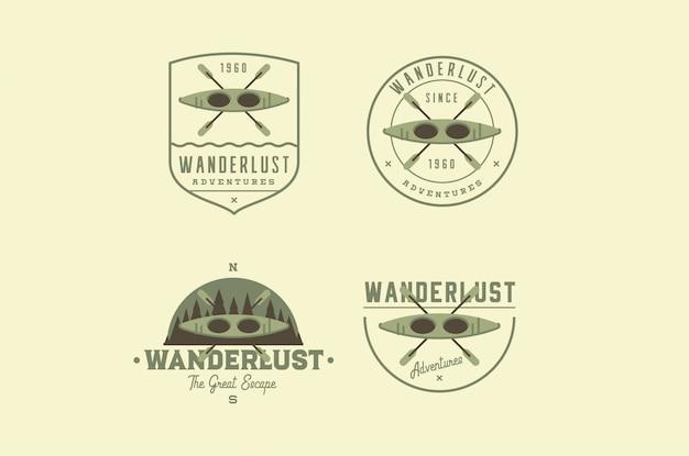 Logos d'aventure de voyage Vecteur Premium