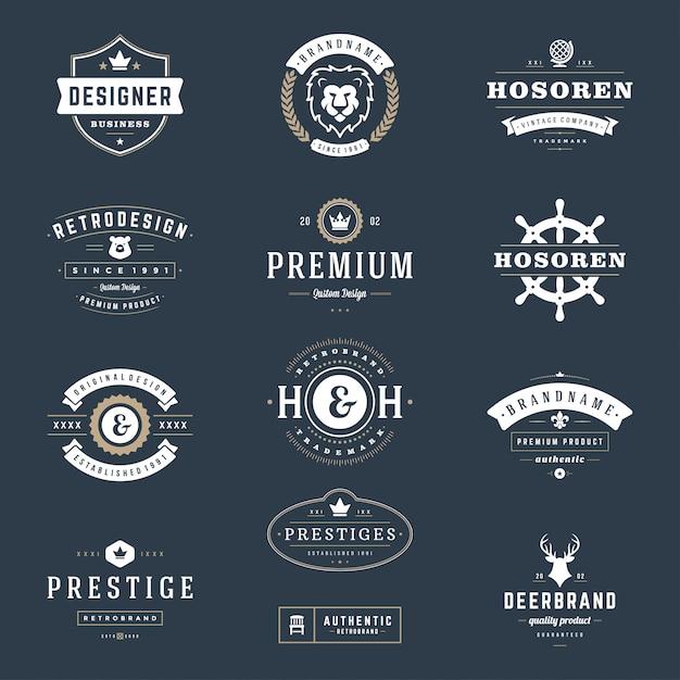 Logos et badges vintage rétro définir des éléments de conception vectorielle Vecteur Premium