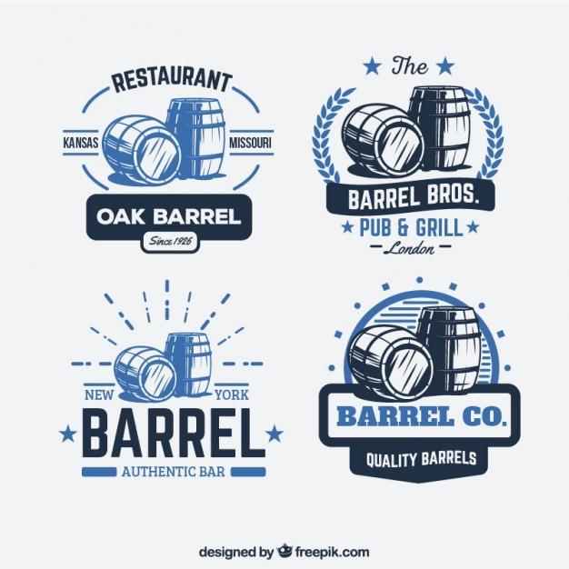 Logos baril rétro Vecteur gratuit