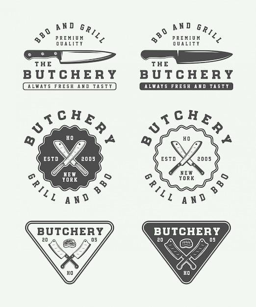 Logos de boucherie Vecteur Premium