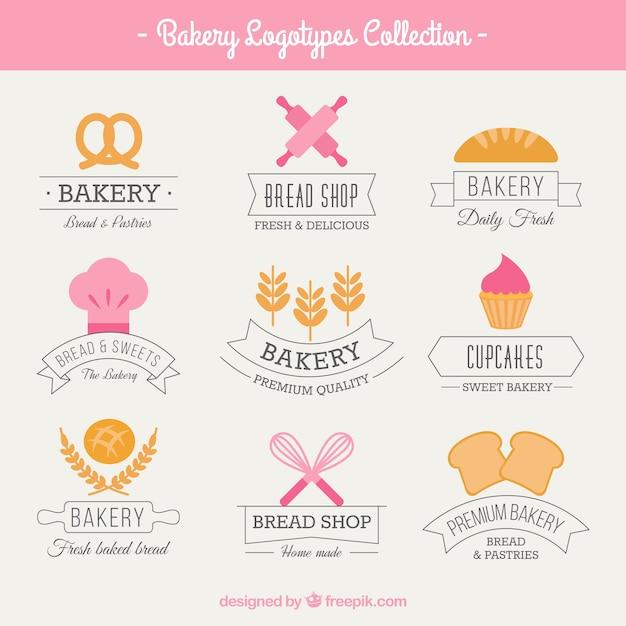 Logos de boulangerie mignon Vecteur gratuit