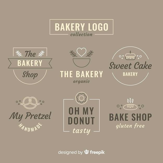 Logos de boulangerie à plat Vecteur gratuit
