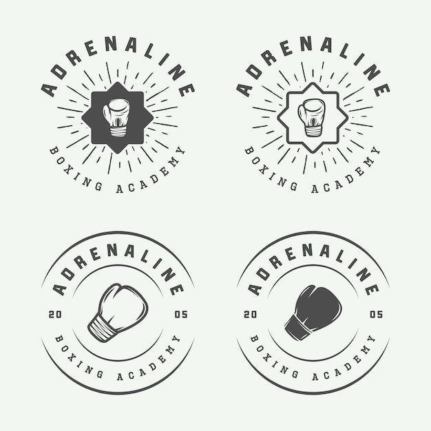 Logos de boxe et d'arts martiaux Vecteur Premium