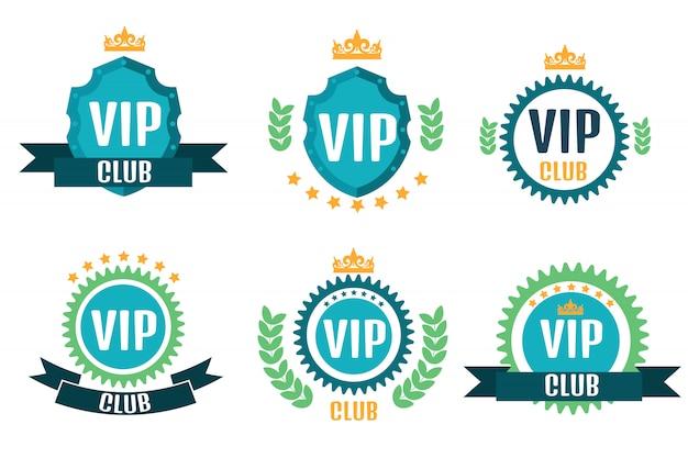 Logos de club vip dans un style plat Vecteur Premium