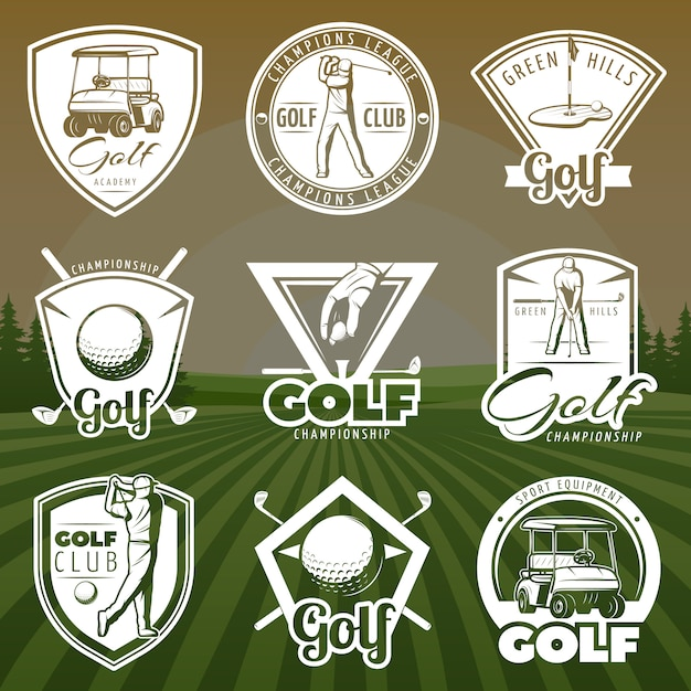 Logos De Clubs De Golf Vintage Vecteur gratuit