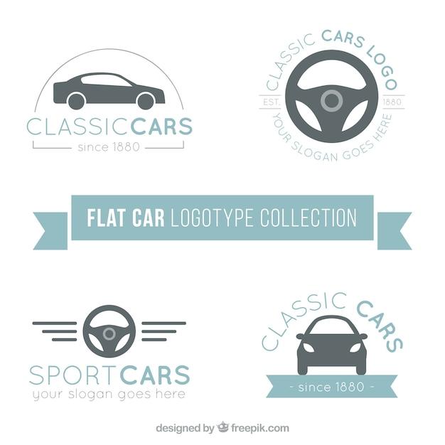 Logos De La Collecte Des Voitures En Design Plat Vecteur Premium