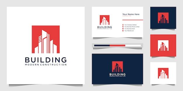 Logos De Conception Et Cartes De Visite De Construction De Bâtiments, Logos Abstraits De Construction De Ville Inspirants Vecteur Premium