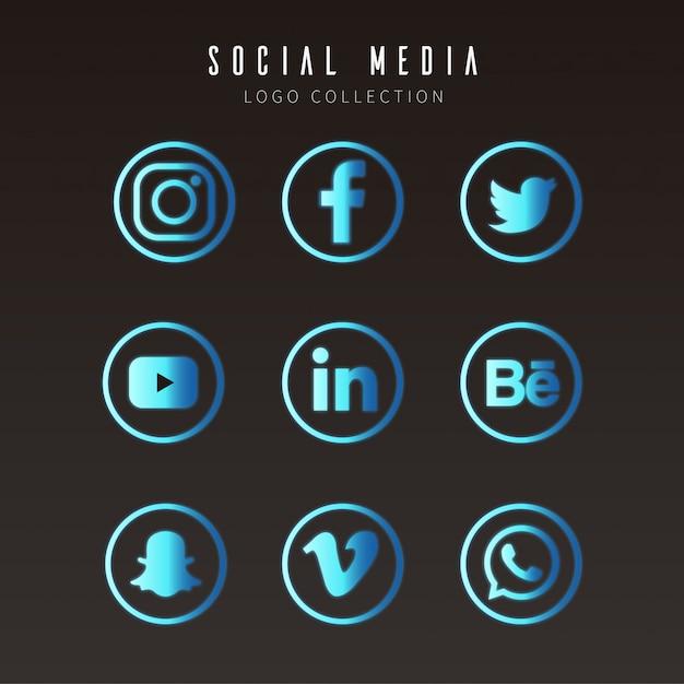 Logos de médias sociaux modernes Vecteur gratuit