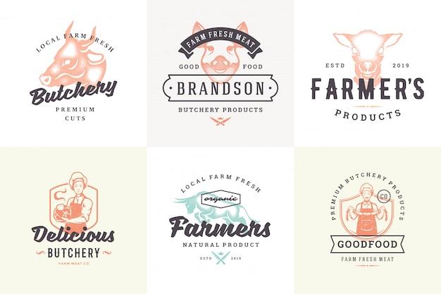 Logos Dessinés à La Main Et étiquettes Animaux De Ferme Avec Typographie Vintage Moderne Style Dessiné à La Main Mis En Illustration Vectorielle. Vecteur Premium