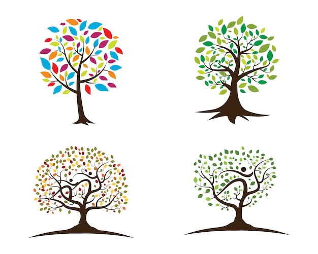 Logos De L'écologie Des Feuilles Vertes Vecteur Premium