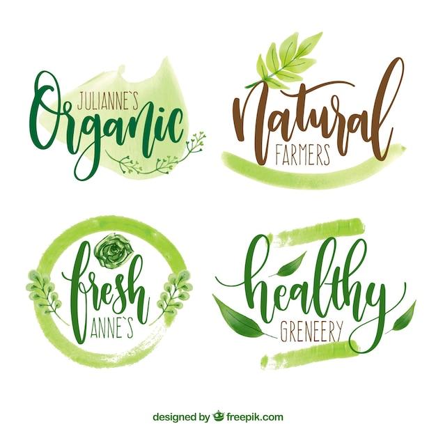 Logos écologiques Aquarelle Vecteur Premium