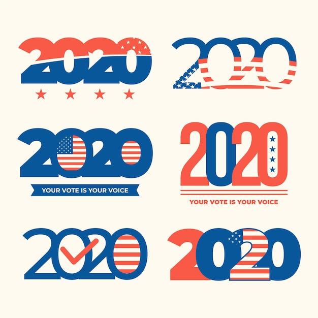 Logos De L'élection Présidentielle Américaine 2020 Vecteur Premium