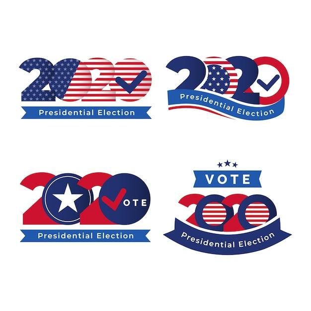 Logos De L'élection Présidentielle Américaine 2020 Vecteur gratuit
