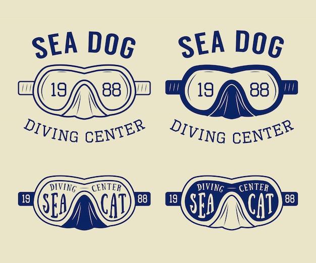 Logos, étiquettes, Emblèmes De Plongée Vecteur Premium