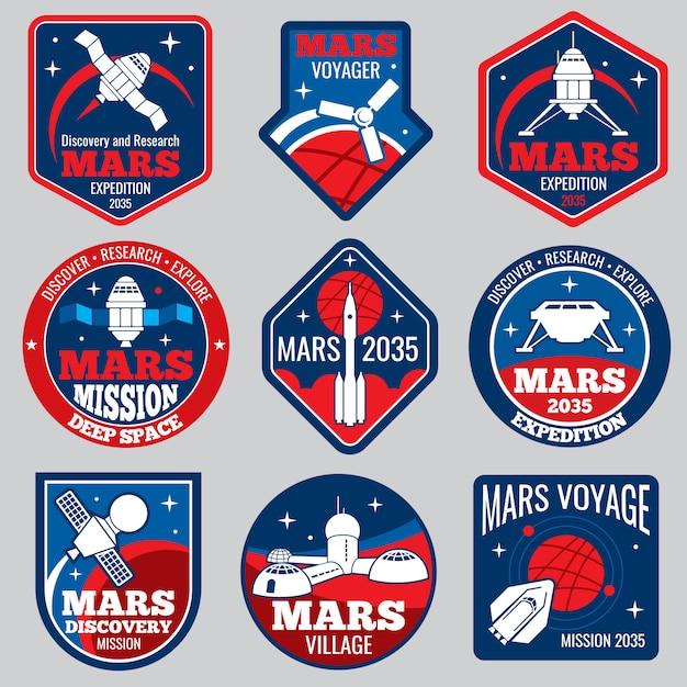 Logos et étiquettes de l'espace rétro colonisation de mars Vecteur Premium