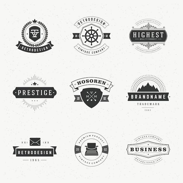 Logos ou étiquettes vintage rétro définie des éléments de conception vectorielle Vecteur Premium
