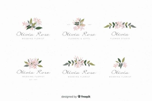 Logos de fleuriste de mariage colorés Vecteur gratuit